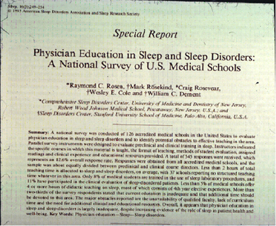 Physician Education in Sleep and Sleep Disorders